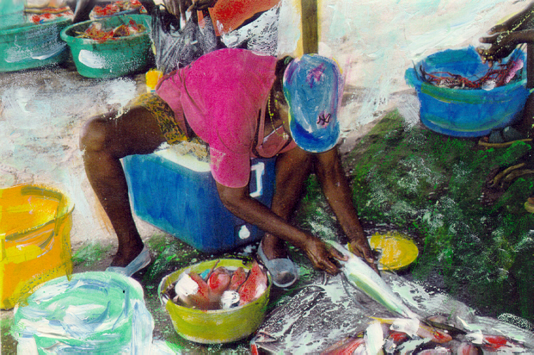 Woman Cleaning Fish, Jamaica